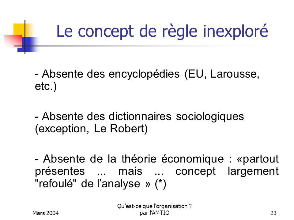 Mars 2004 Quest-ce que lorganisation ? par lAMTIO23 Le concept de règle inexploré - Absente des encyclopédies (EU, Larousse, etc.) - Absente des dicti