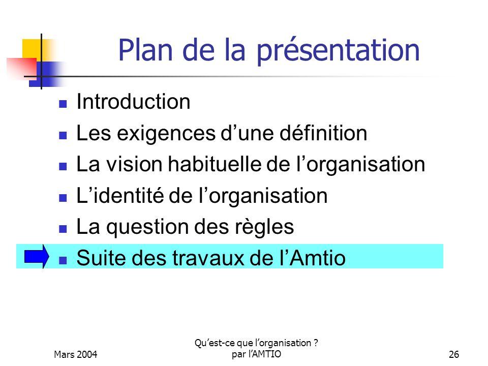 Mars 2004 Quest-ce que lorganisation ? par lAMTIO26 Plan de la présentation Introduction Les exigences dune définition La vision habituelle de lorgani