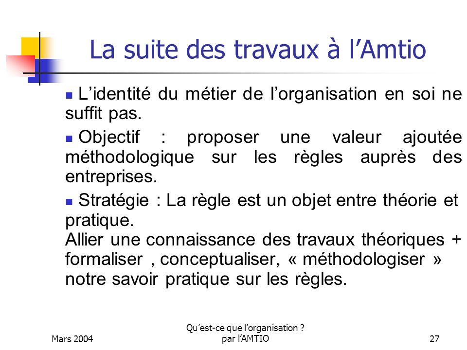 Mars 2004 Quest-ce que lorganisation ? par lAMTIO27 La suite des travaux à lAmtio Lidentité du métier de lorganisation en soi ne suffit pas. Objectif