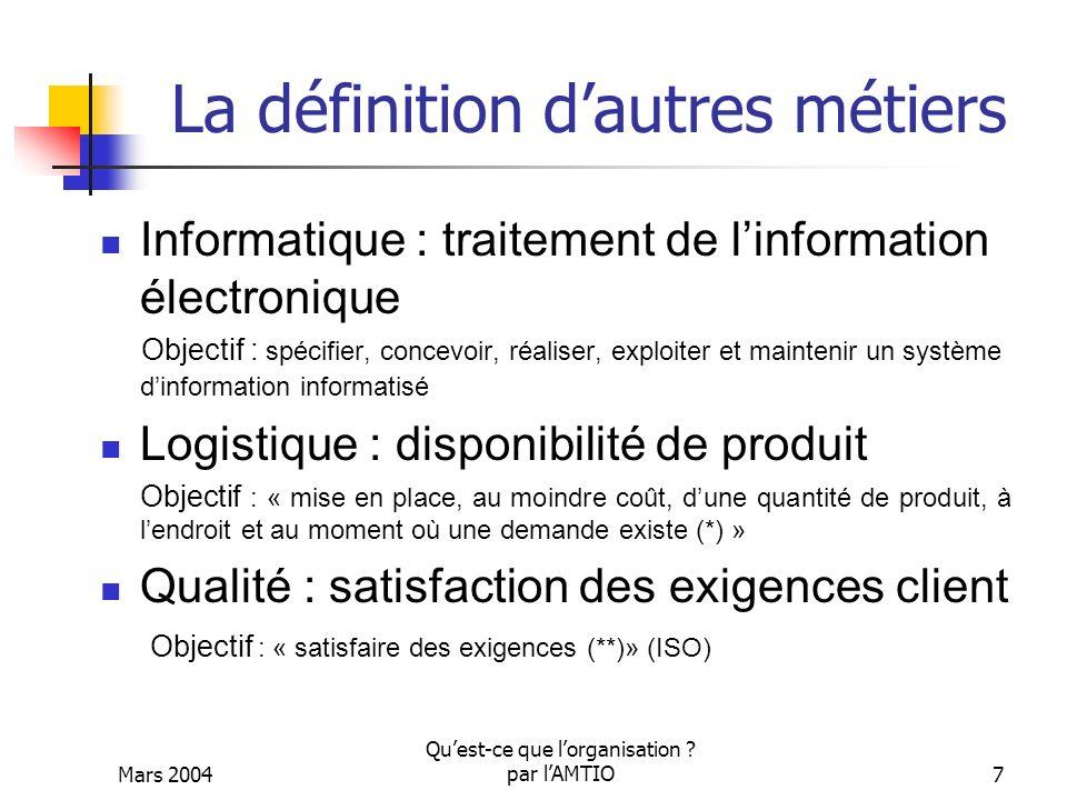 Mars 2004 Quest-ce que lorganisation ? par lAMTIO7 La définition dautres métiers Informatique : traitement de linformation électronique Objectif : spé