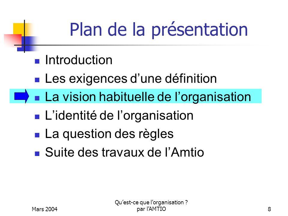 Mars 2004 Quest-ce que lorganisation ? par lAMTIO8 Plan de la présentation Introduction Les exigences dune définition La vision habituelle de lorganis