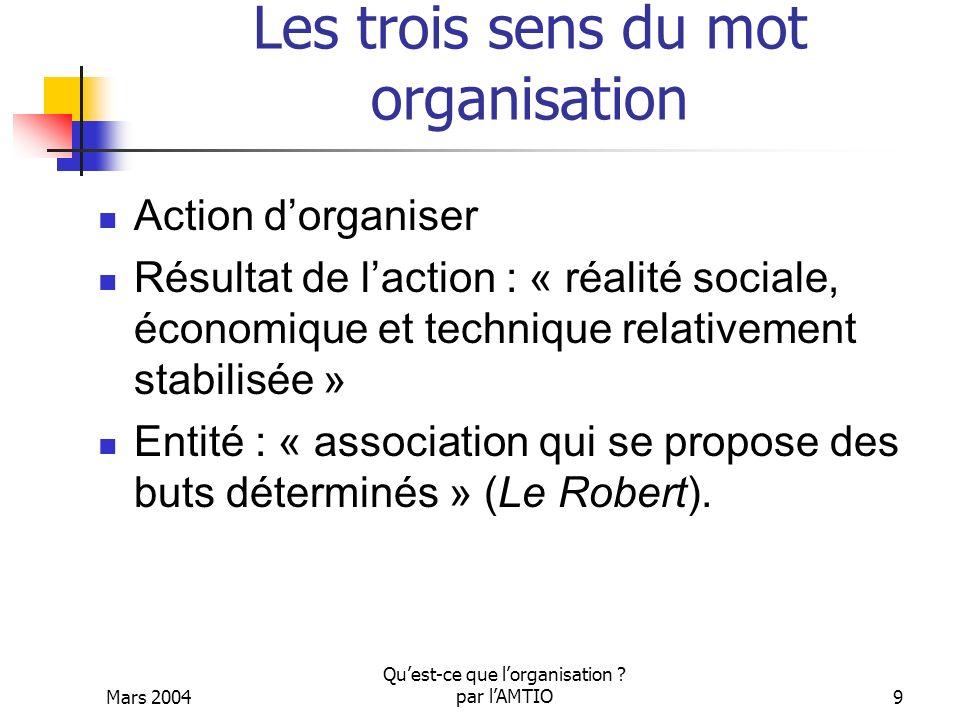 Mars 2004 Quest-ce que lorganisation ? par lAMTIO9 Les trois sens du mot organisation Action dorganiser Résultat de laction : « réalité sociale, écono