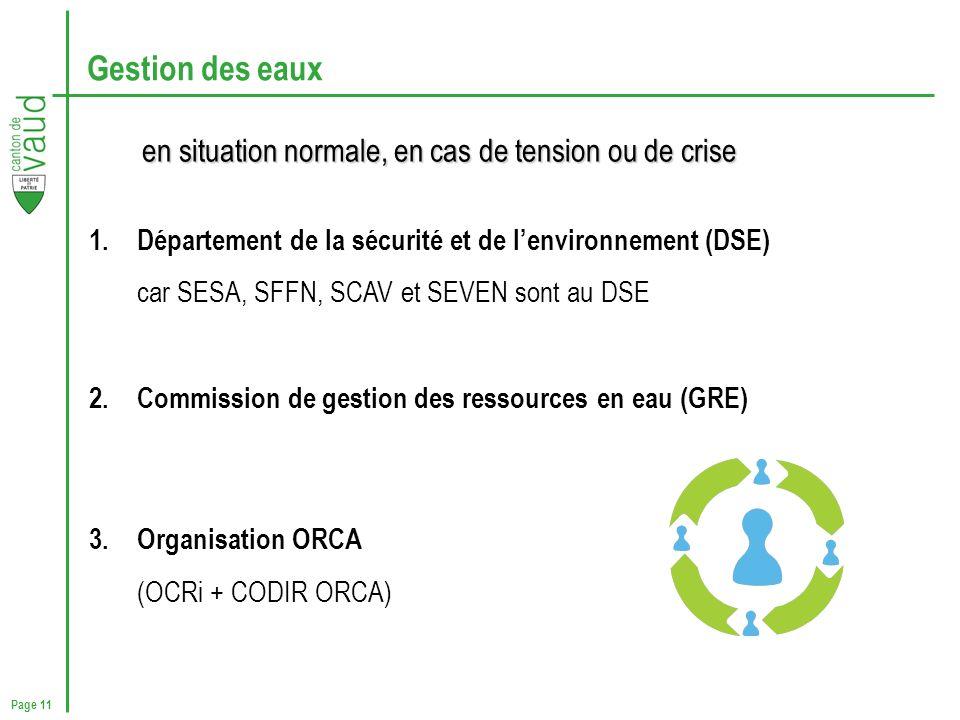 Page 11 Gestion des eaux 1.Département de la sécurité et de lenvironnement (DSE) car SESA, SFFN, SCAV et SEVEN sont au DSE 2.Commission de gestion des