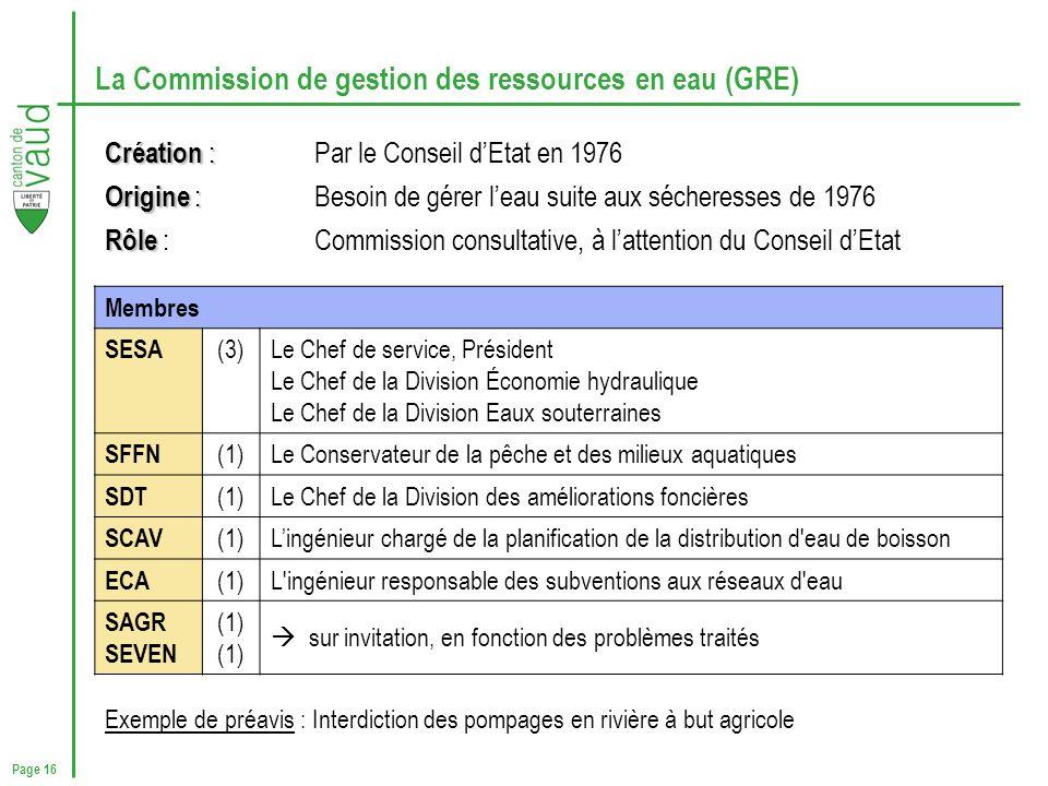 Page 16 La Commission de gestion des ressources en eau (GRE) Création : Création : Par le Conseil dEtat en 1976 Origine : Origine : Besoin de gérer le