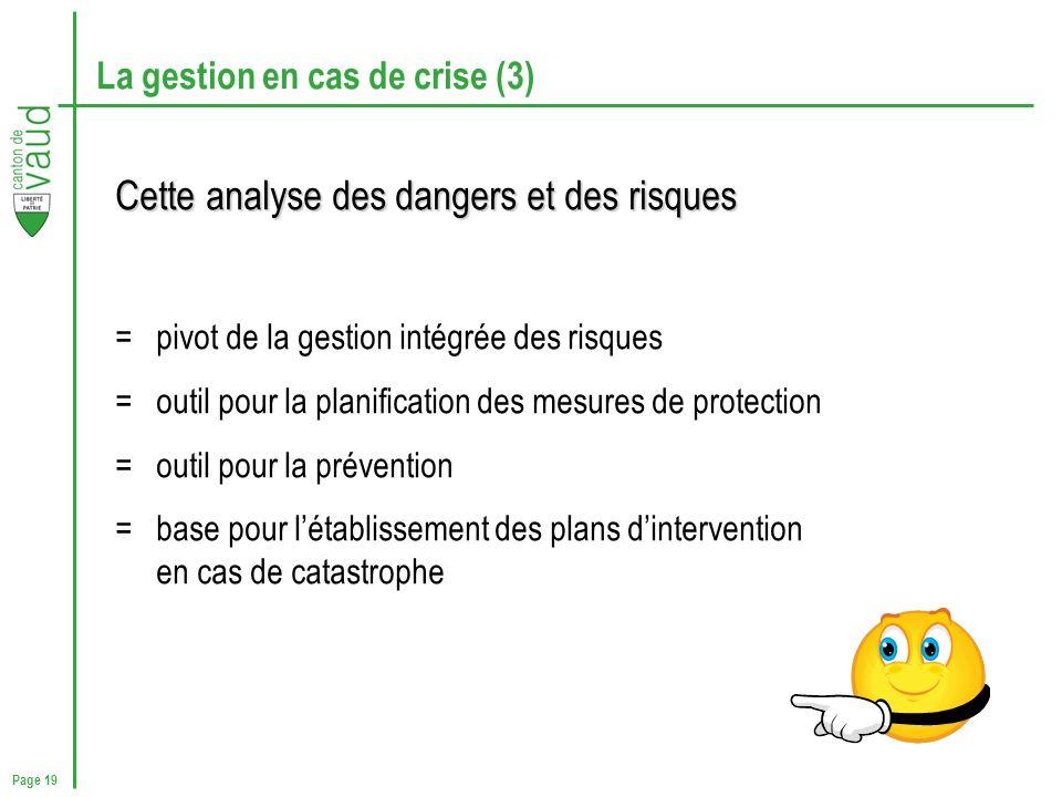 Page 19 La gestion en cas de crise (3) Cette analyse des dangers et des risques = pivot de la gestion intégrée des risques = outil pour la planificati