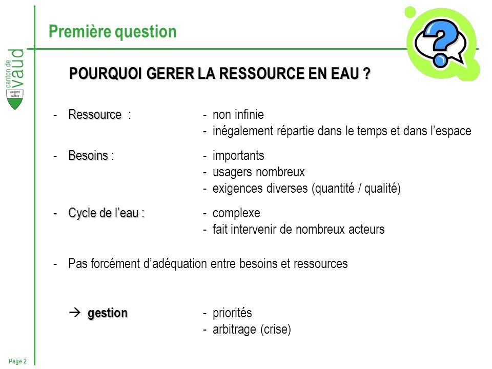 Page 2 Première question POURQUOI GERER LA RESSOURCE EN EAU ? Ressource -Ressource : - non infinie - inégalement répartie dans le temps et dans lespac