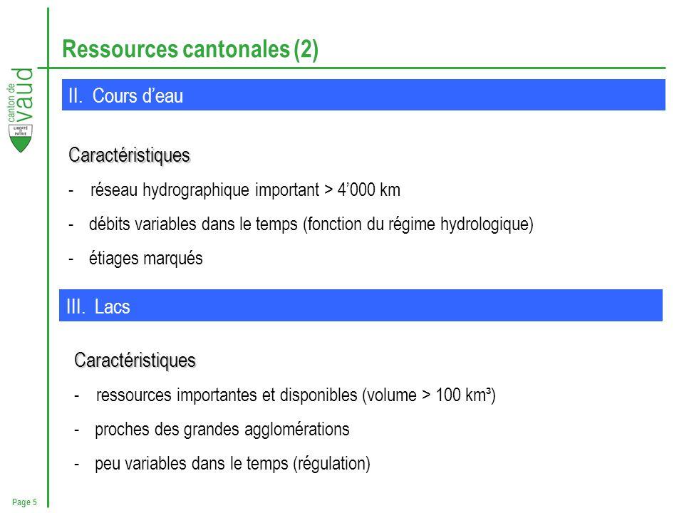 Page 5 Ressources cantonales (2) II. Cours deau Caractéristiques - réseau hydrographique important > 4000 km -débits variables dans le temps (fonction