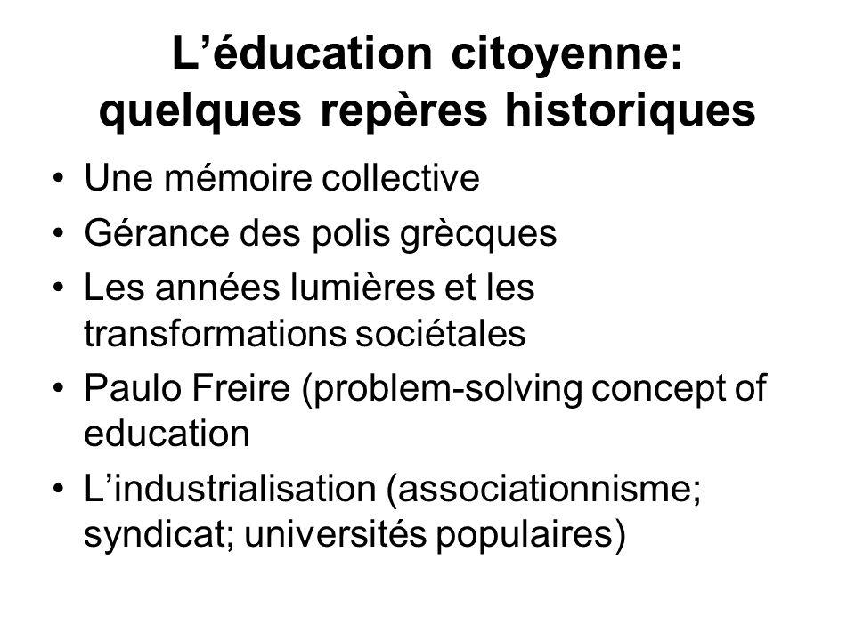 Léducation citoyenne: quelques repères historiques Une mémoire collective Gérance des polis grècques Les années lumières et les transformations sociét