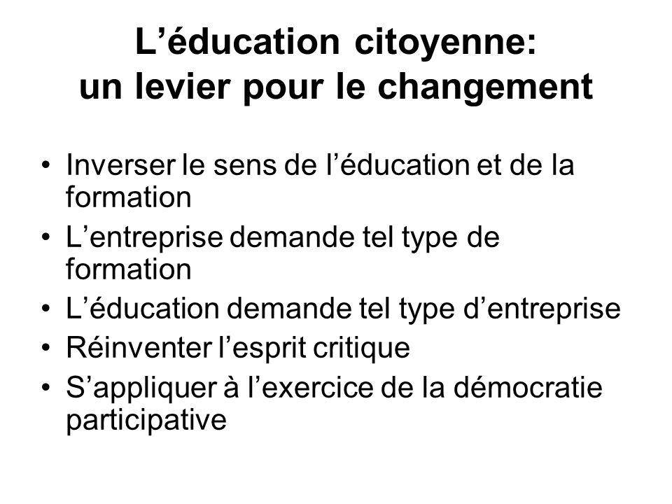 Léducation citoyenne: un levier pour le changement Inverser le sens de léducation et de la formation Lentreprise demande tel type de formation Léducat