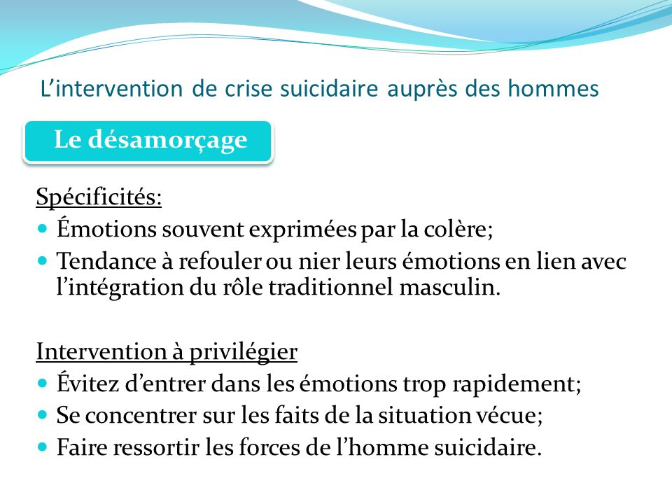 Lintervention de crise suicidaire auprès des hommes Spécificités: Émotions souvent exprimées par la colère; Tendance à refouler ou nier leurs émotions