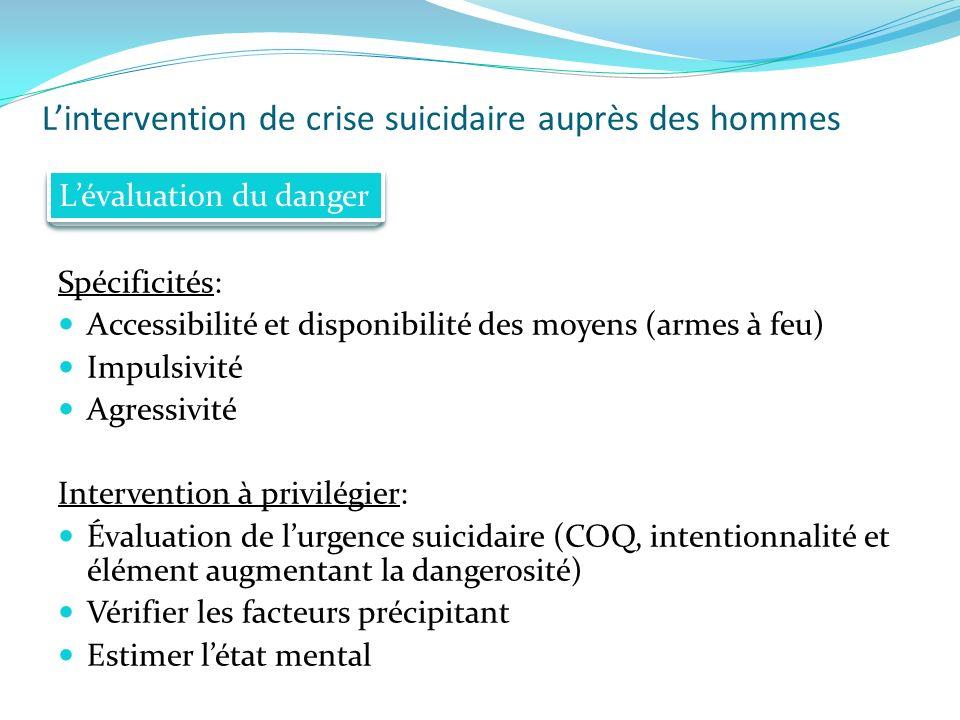 Lintervention de crise suicidaire auprès des hommes Spécificités: Accessibilité et disponibilité des moyens (armes à feu) Impulsivité Agressivité Inte