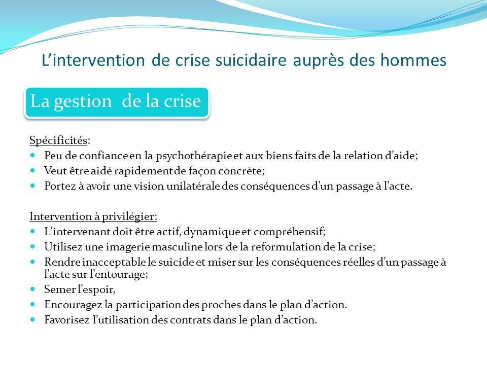 Lintervention de crise suicidaire auprès des hommes Spécificités: Peu de confiance en la psychothérapie et aux biens faits de la relation daide; Veut