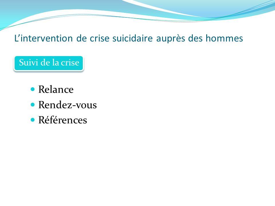 Lintervention de crise suicidaire auprès des hommes Relance Rendez-vous Références Suivi de la crise