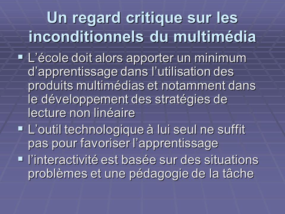 Un regard critique sur les inconditionnels du multimédia Lécole doit alors apporter un minimum dapprentissage dans lutilisation des produits multimédi