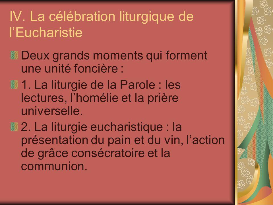 IV. La célébration liturgique de lEucharistie Deux grands moments qui forment une unité foncière : 1. La liturgie de la Parole : les lectures, lhoméli