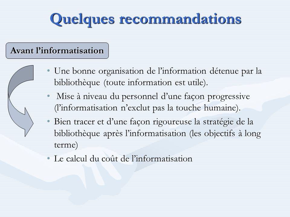 Quelques recommandations Une bonne organisation de linformation détenue par la bibliothèque (toute information est utile).Une bonne organisation de li