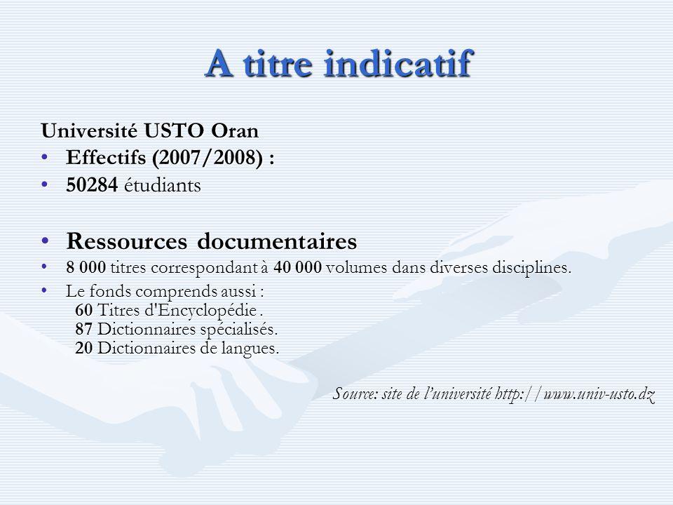 A titre indicatif Université USTO Oran Effectifs (2007/2008) :Effectifs (2007/2008) : 50284 étudiants50284 étudiants Ressources documentairesRessource