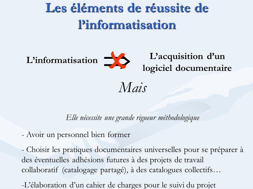 Les éléments de réussite de linformatisation Linformatisation Lacquisition dun logiciel documentaire Mais Elle nécessite une grande rigueur méthodolog