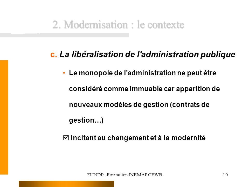 FUNDP - Formation INEMAP CFWB10 c. La libéralisation de l'administration publique Le monopole de l'administration ne peut être considéré comme immuabl