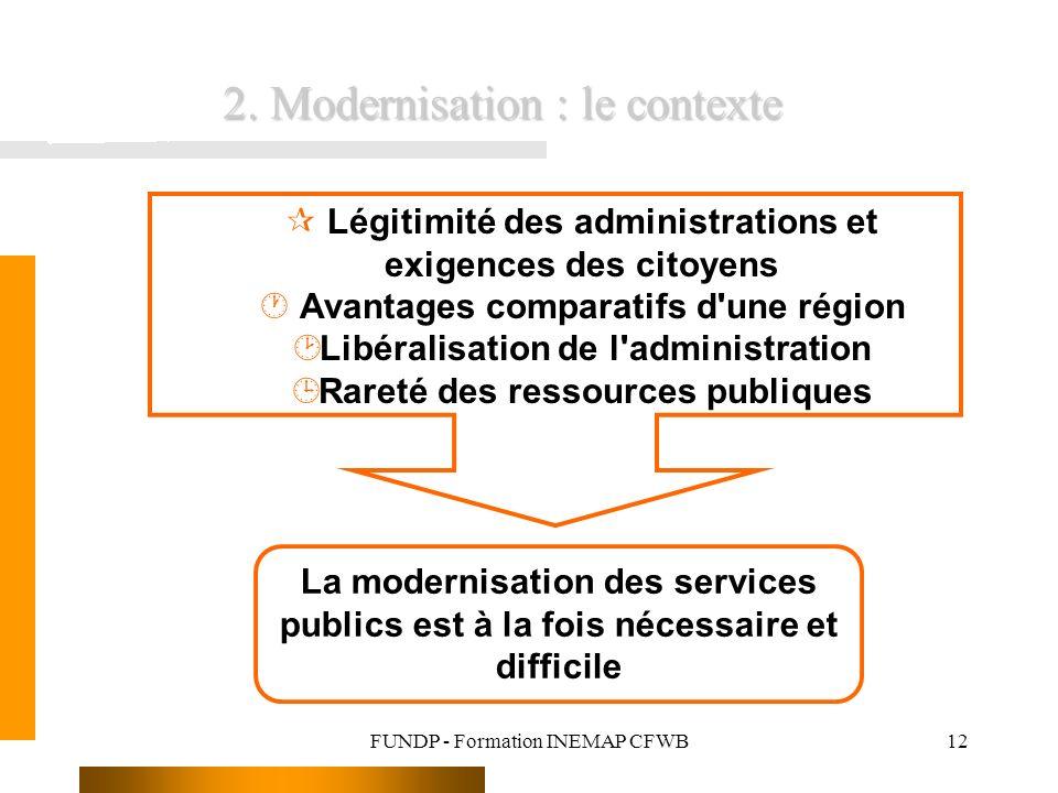FUNDP - Formation INEMAP CFWB12 ¶ Légitimité des administrations et exigences des citoyens · Avantages comparatifs d'une région ¸ Libéralisation de l'