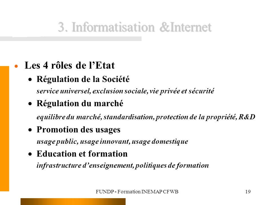 FUNDP - Formation INEMAP CFWB19 3. Informatisation &Internet Les 4 rôles de lEtat Régulation de la Société service universel, exclusion sociale, vie p