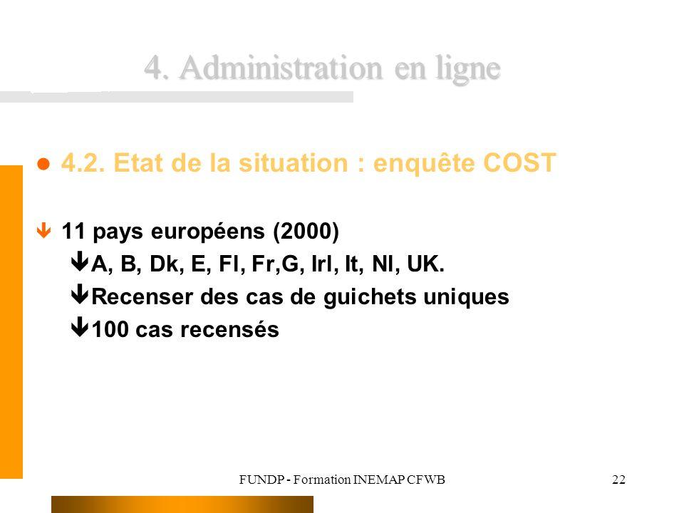 FUNDP - Formation INEMAP CFWB22 4. Administration en ligne 4.2. Etat de la situation : enquête COST ê 11 pays européens (2000) êA, B, Dk, E, Fl, Fr,G,