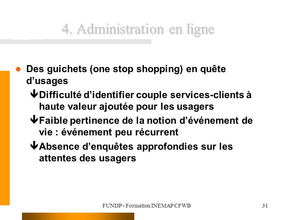 FUNDP - Formation INEMAP CFWB31 4. Administration en ligne Des guichets (one stop shopping) en quête dusages êDifficulté didentifier couple services-c