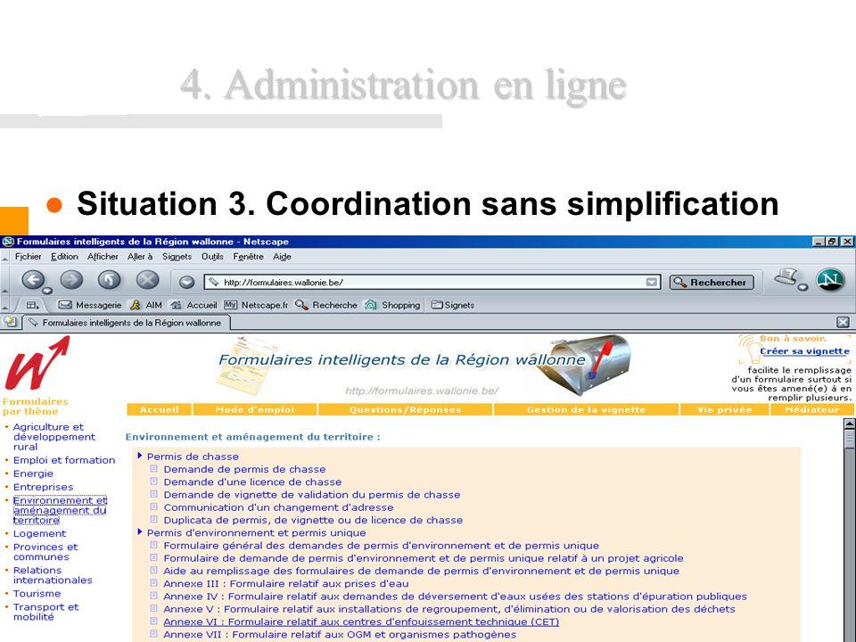 FUNDP - Formation INEMAP CFWB37 4. Administration en ligne Situation 3. Coordination sans simplification