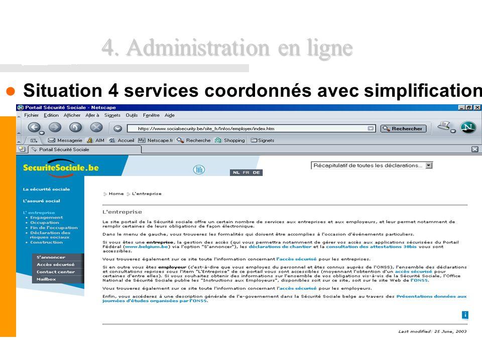 FUNDP - Formation INEMAP CFWB38 4. Administration en ligne Situation 4 services coordonnés avec simplification