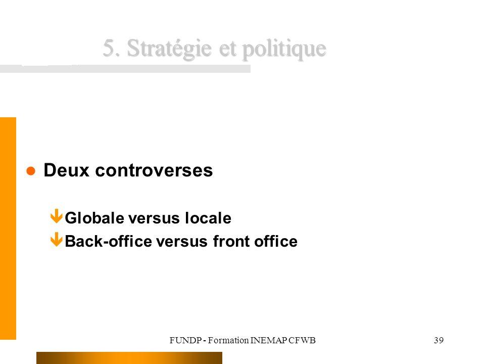 FUNDP - Formation INEMAP CFWB39 5. Stratégie et politique Deux controverses êGlobale versus locale êBack-office versus front office