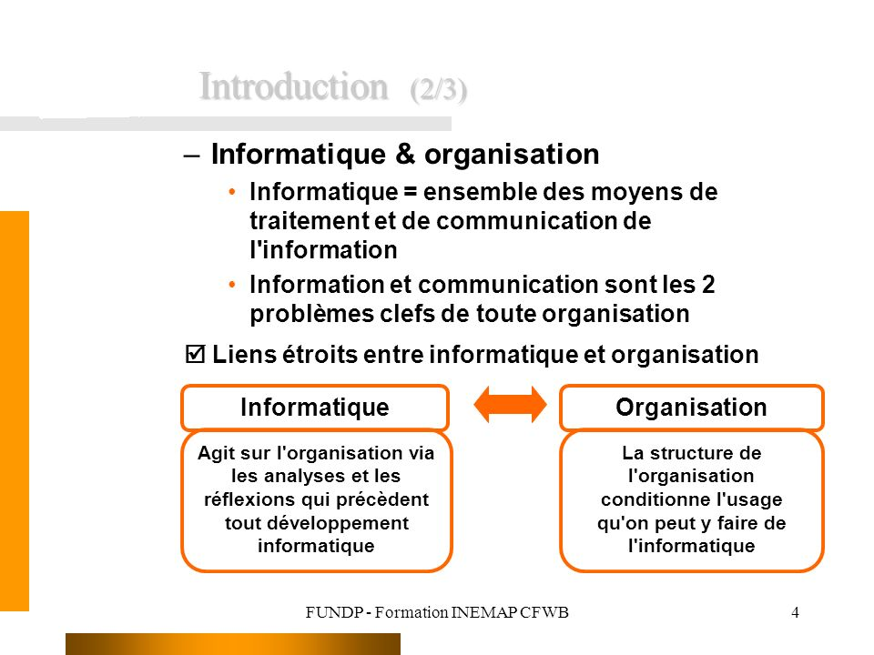 FUNDP - Formation INEMAP CFWB4 –Informatique & organisation Informatique = ensemble des moyens de traitement et de communication de l'information Info