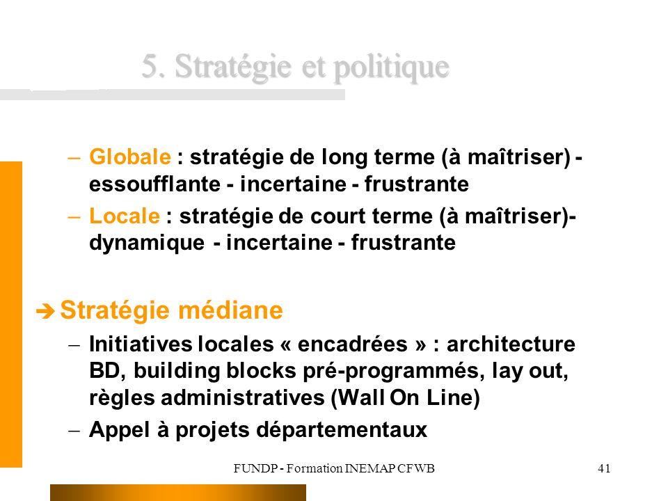 FUNDP - Formation INEMAP CFWB41 5. Stratégie et politique –Globale : stratégie de long terme (à maîtriser) - essoufflante - incertaine - frustrante –L