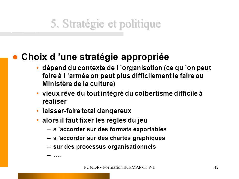FUNDP - Formation INEMAP CFWB42 5. Stratégie et politique Choix d une stratégie appropriée dépend du contexte de l organisation (ce qu on peut faire à