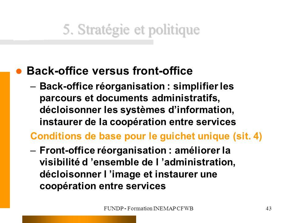 FUNDP - Formation INEMAP CFWB43 5. Stratégie et politique Back-office versus front-office –Back-office réorganisation : simplifier les parcours et doc