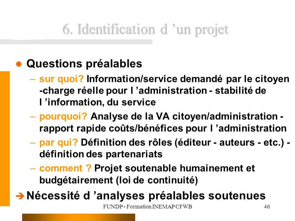 FUNDP - Formation INEMAP CFWB46 6. Identification d un projet Questions préalables –sur quoi? Information/service demandé par le citoyen -charge réell