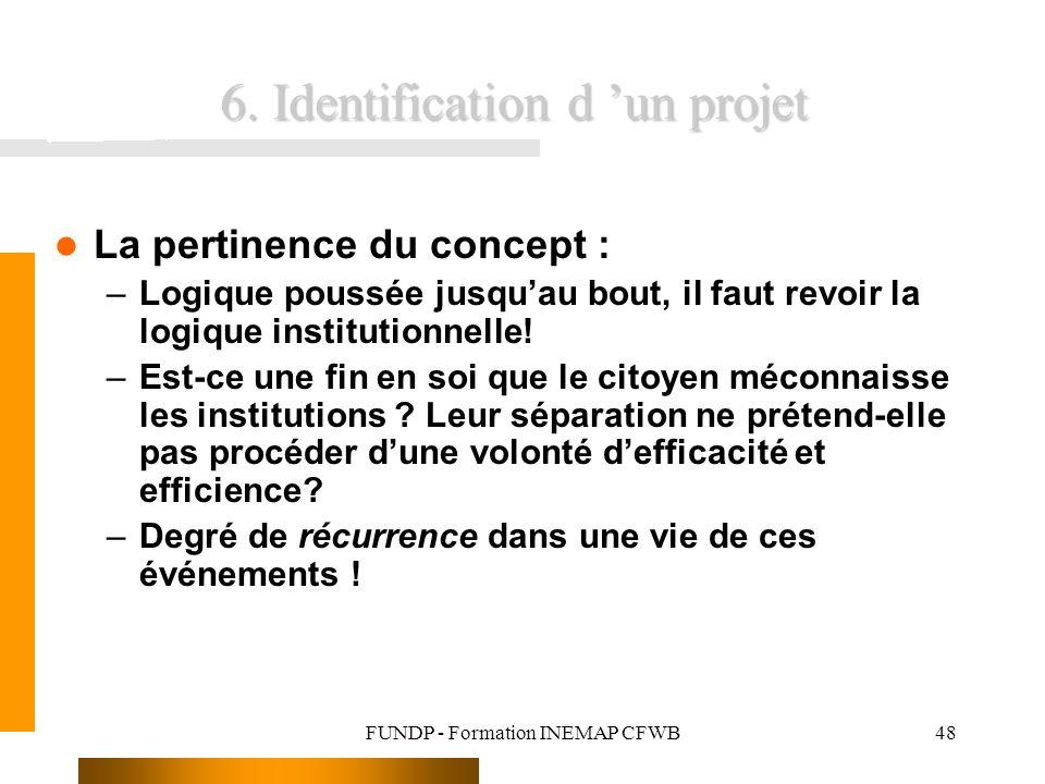 FUNDP - Formation INEMAP CFWB48 6. Identification d un projet La pertinence du concept : –Logique poussée jusquau bout, il faut revoir la logique inst