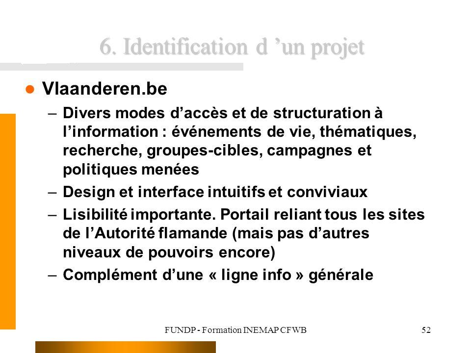 FUNDP - Formation INEMAP CFWB52 6. Identification d un projet Vlaanderen.be –Divers modes daccès et de structuration à linformation : événements de vi