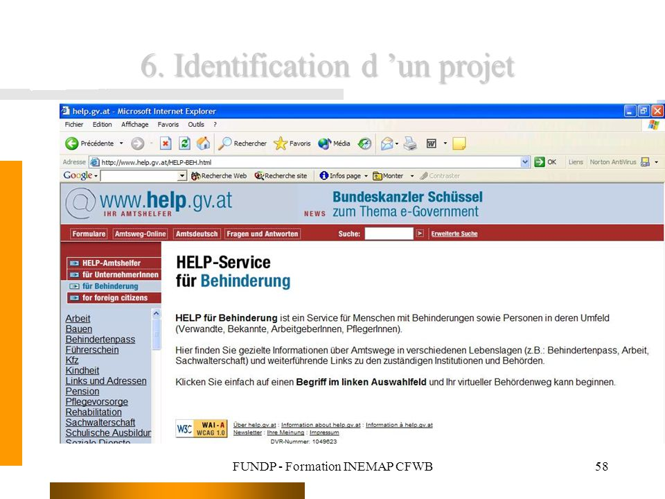 FUNDP - Formation INEMAP CFWB58 6. Identification d un projet