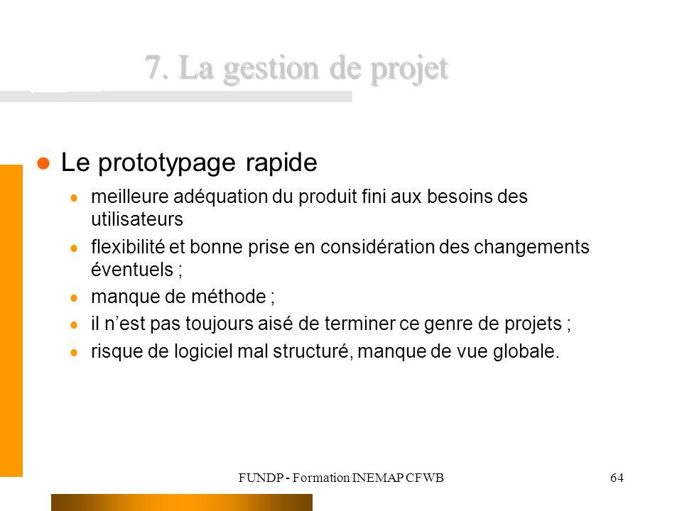 FUNDP - Formation INEMAP CFWB64 7. La gestion de projet Le prototypage rapide meilleure adéquation du produit fini aux besoins des utilisateurs flexib
