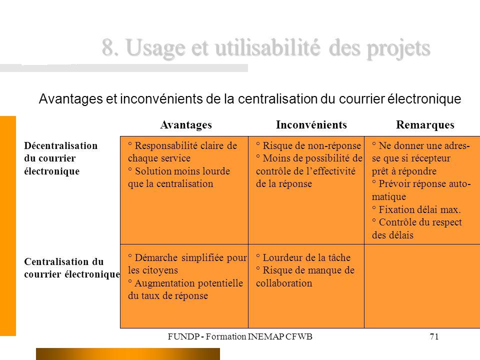 FUNDP - Formation INEMAP CFWB71 8. Usage et utilisabilité des projets Avantages et inconvénients de la centralisation du courrier électronique Décentr