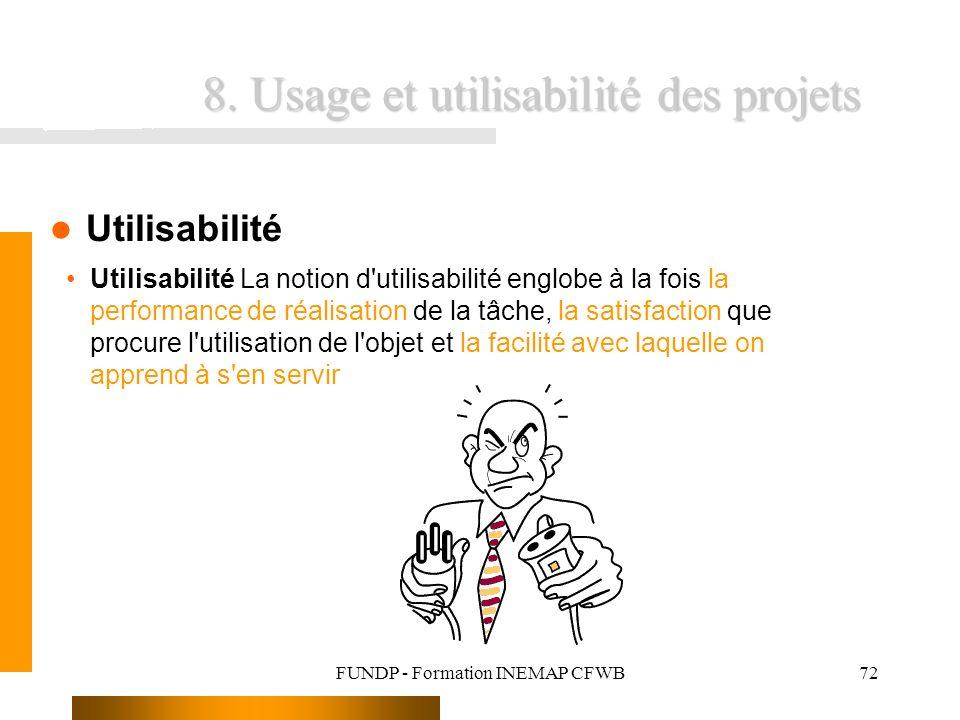 FUNDP - Formation INEMAP CFWB72 8. Usage et utilisabilité des projets Utilisabilité Utilisabilité La notion d'utilisabilité englobe à la fois la perfo