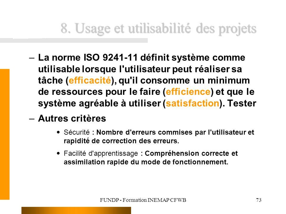 FUNDP - Formation INEMAP CFWB73 8. Usage et utilisabilité des projets –La norme ISO 9241-11 définit système comme utilisable lorsque l'utilisateur peu