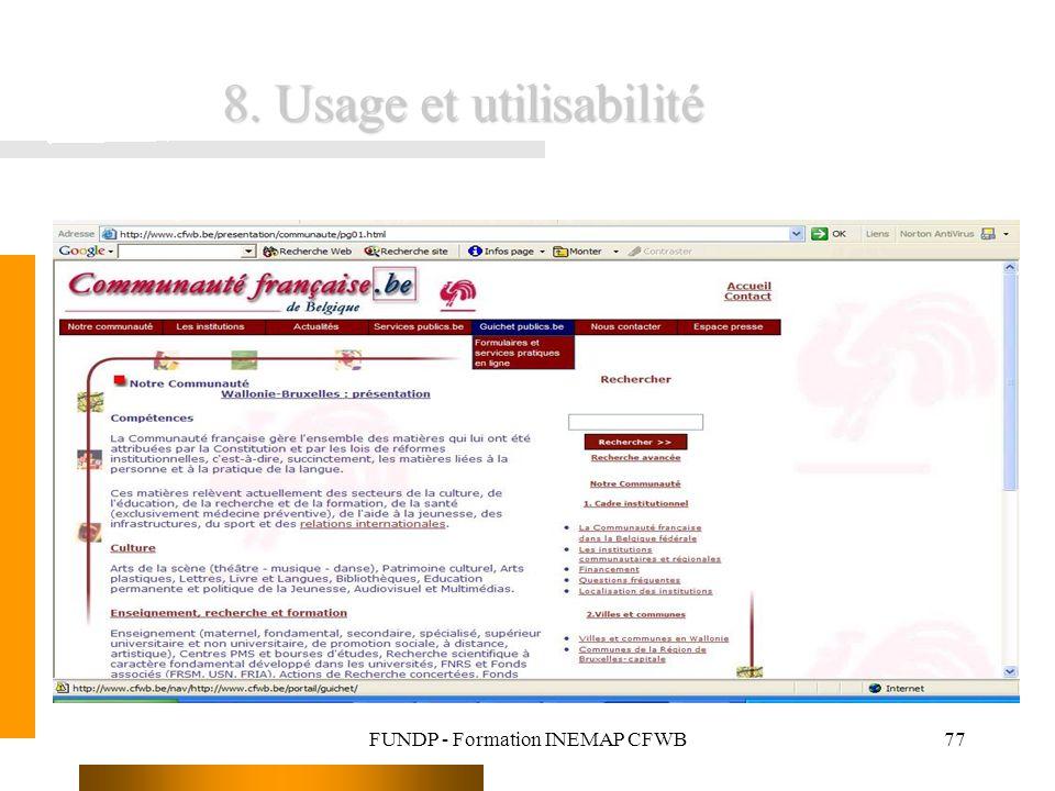 FUNDP - Formation INEMAP CFWB77 8. Usage et utilisabilité