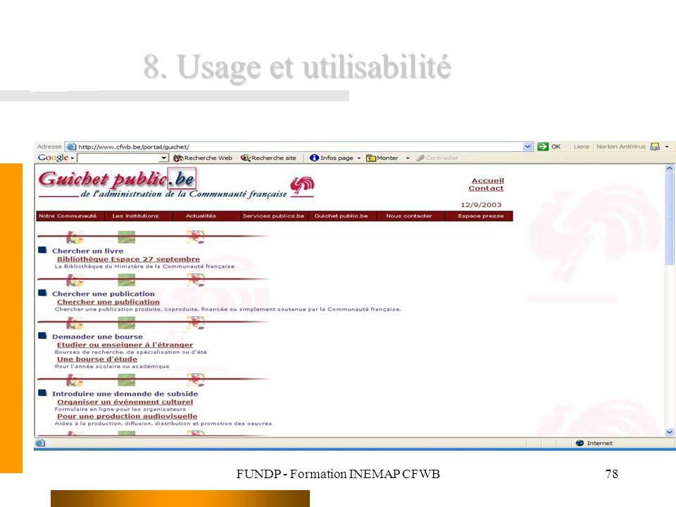 FUNDP - Formation INEMAP CFWB78 8. Usage et utilisabilité