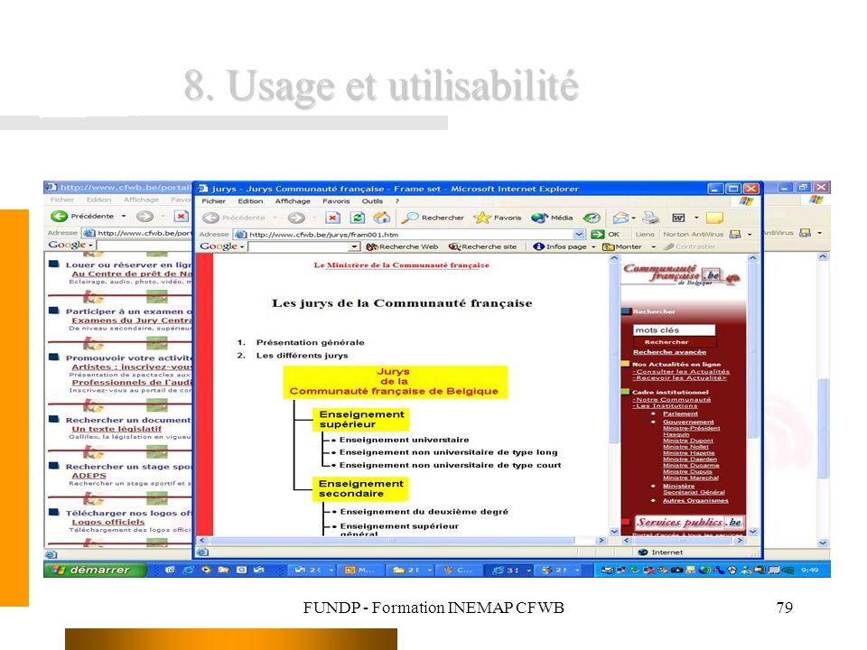 FUNDP - Formation INEMAP CFWB79 8. Usage et utilisabilité