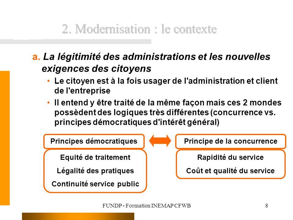 FUNDP - Formation INEMAP CFWB8 a. La légitimité des administrations et les nouvelles exigences des citoyens Le citoyen est à la fois usager de l'admin