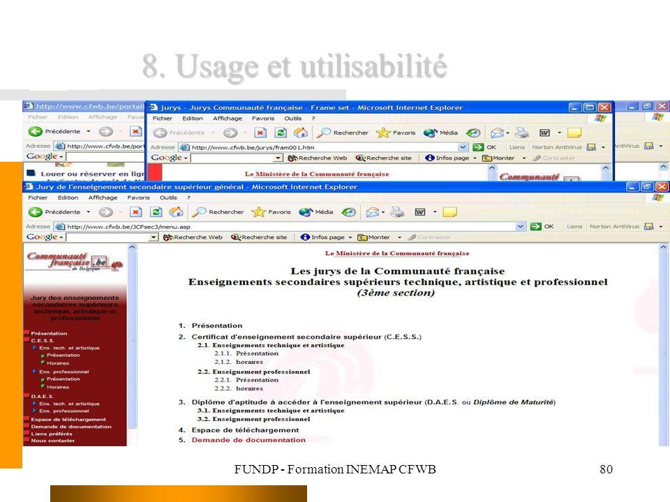 FUNDP - Formation INEMAP CFWB80 8. Usage et utilisabilité