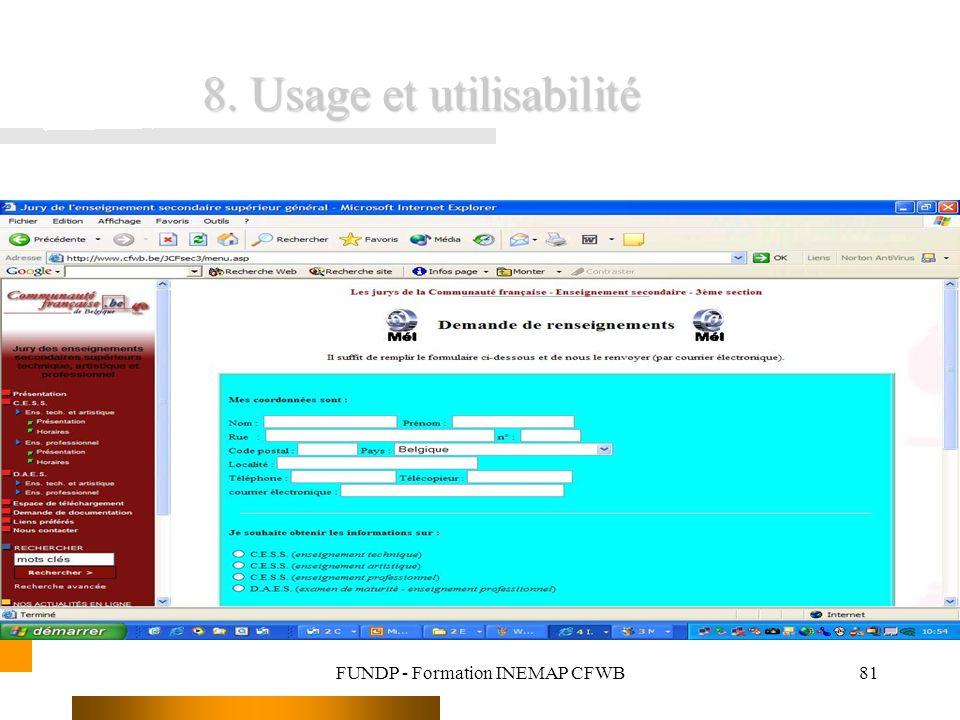FUNDP - Formation INEMAP CFWB81 8. Usage et utilisabilité