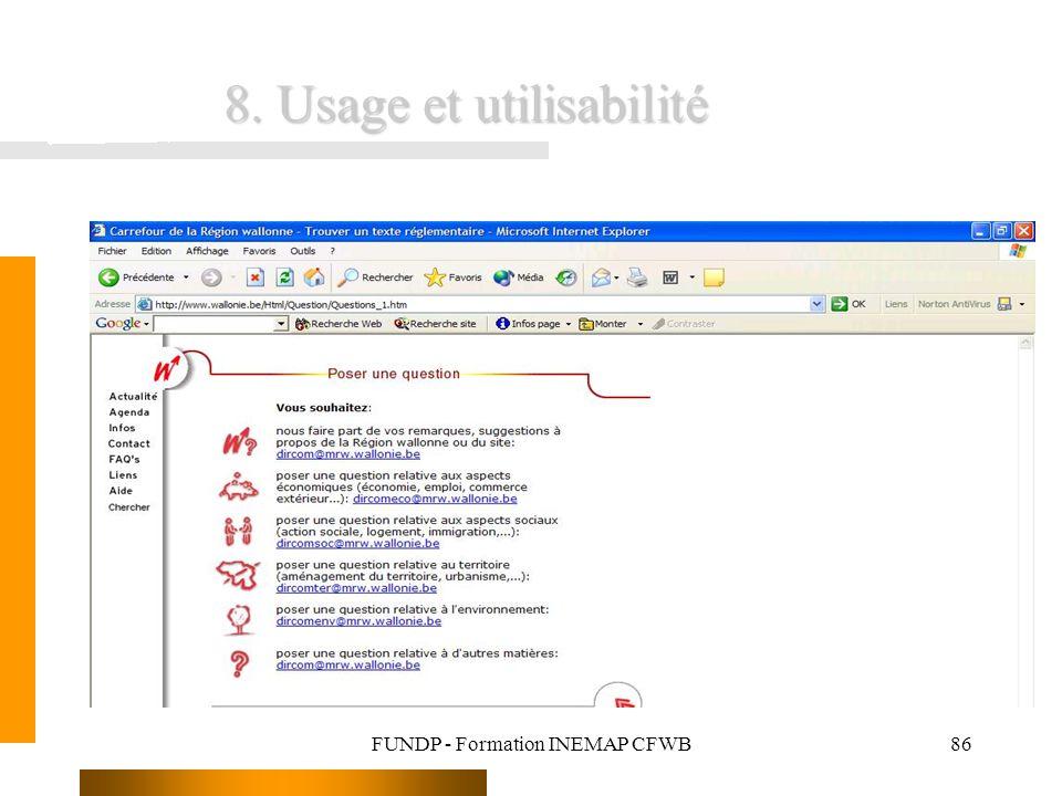 FUNDP - Formation INEMAP CFWB86 8. Usage et utilisabilité