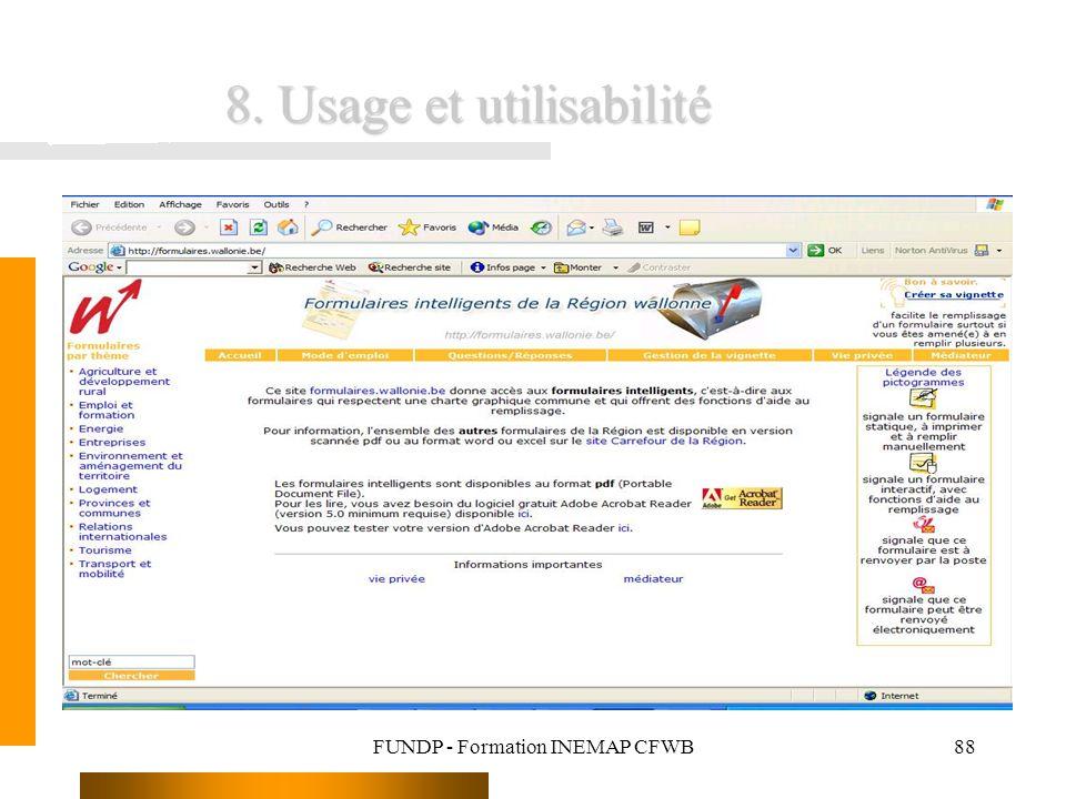 FUNDP - Formation INEMAP CFWB88 8. Usage et utilisabilité